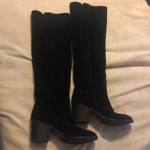 BCBGeneration Black Leather Suede Boots. Size 10
